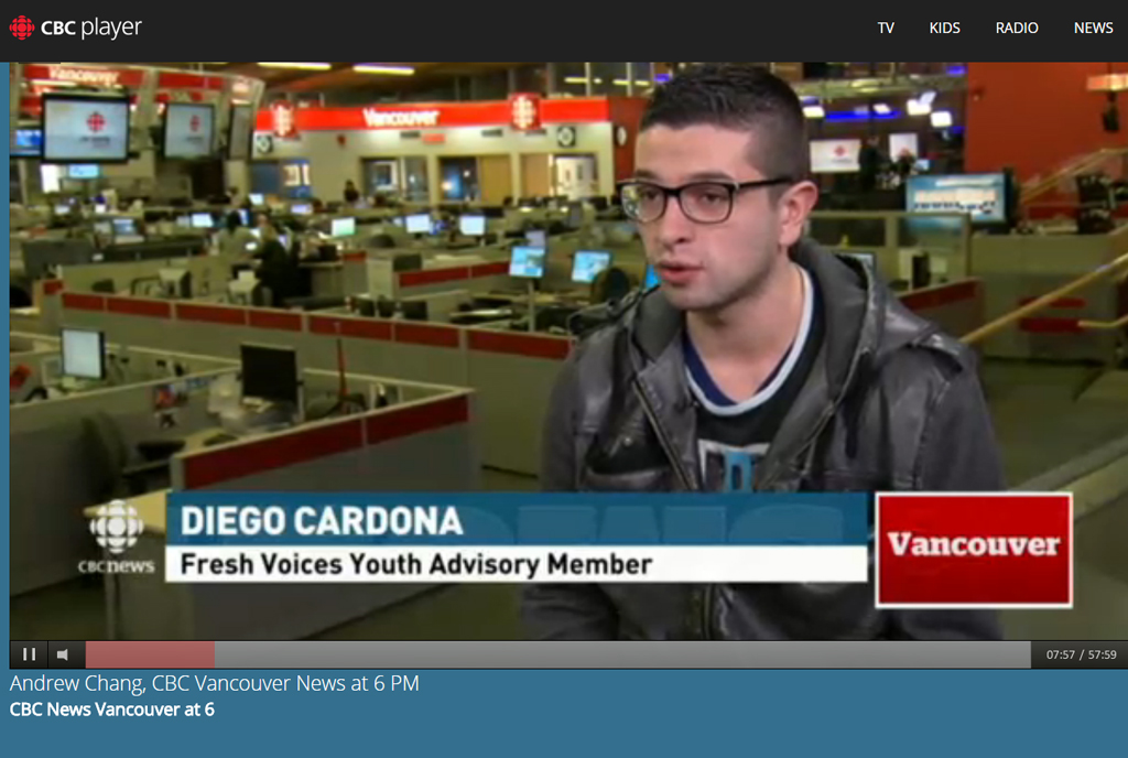 Diego appearing on CBC News