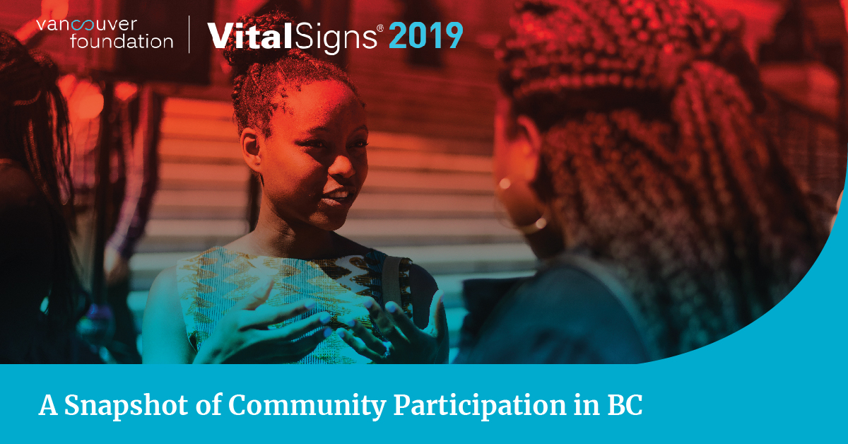 Vital Signs 2019 is a snapshot of community participation in BC. Photo is of a young girl, gesturing with her hands, talking to an older woman.