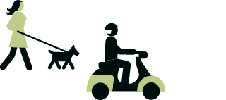 Icons of a person walking a dog and a person on a scooter.