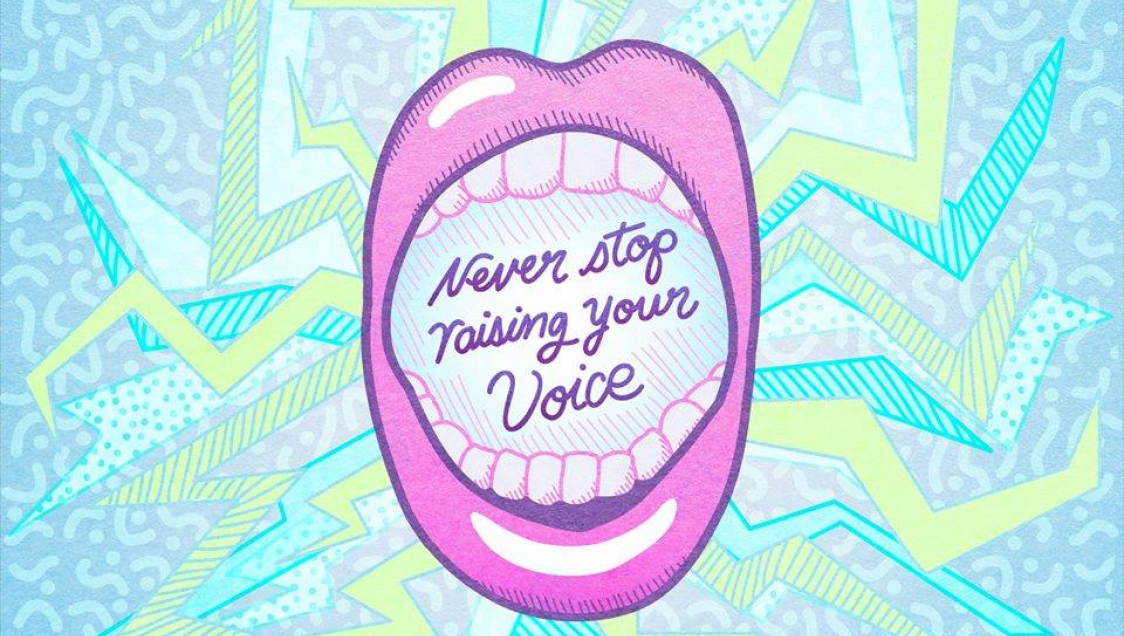 Never Stop Raising Your Voice Graphic