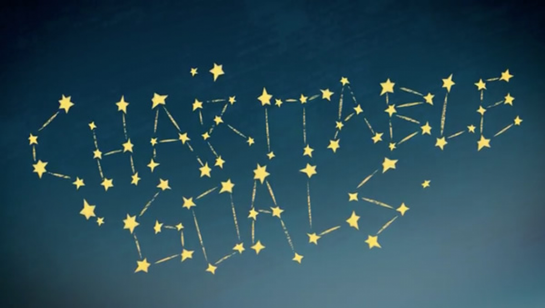"The words ""charitable goals"" spelled out in stars"