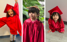 Three preschool aged children graduating from the Indigenous HIPPY program
