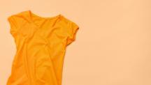 Orange shirt on an orange background.