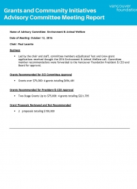 Cover of the Environment & Animal Welfare  Committee Meeting Report October 12 2016