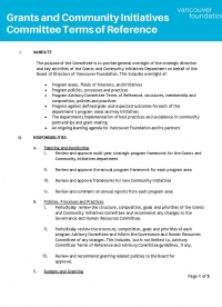 Cover of the Community Initiatives Committee Terms of Reference
